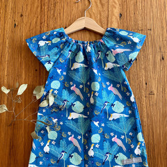 dress - cockatoo galah teal / organic cotton peasant-style / 1-9 years