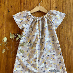 dress - grey cockatoos / cotton peasant-style dress mushroom taupe / 1-9 years