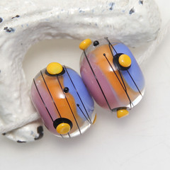 Colourful Lampwork Glass Bead Pair