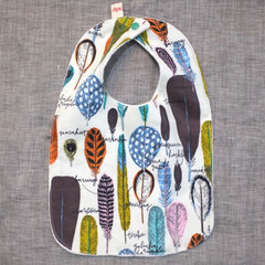 bib - feathers / organic cotton hemp fleece / eco friendly / baby toddler