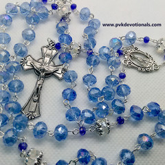 Rosary - Blue Glass Crystal beads-6x4mm-Traditional