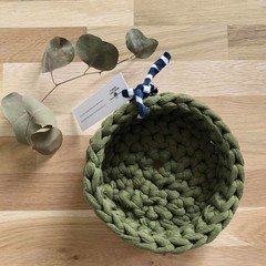 Crochet basket | essential oils | home decor | storage basket | OLIVE GREEN