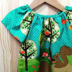 dress - squirrels / cotton / green hedgehogs / 1, 2-3  years