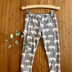 leggings - grey elephant / eco friendly organic cotton / 3 years