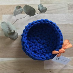 Crochet basket | essential oils | home decor | storage basket | ROYAL NAVY BLUE