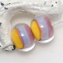 Pink Purple and Yellow Encased Lampwork Glass Bead Pair
