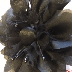 SILK RUFFLE FLOWER CLIP- BLACK