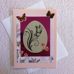 Pink Easter Card with Symbols of New Life
