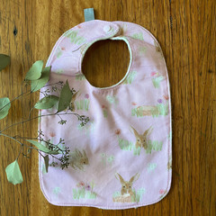 bib - pink bilby / organic cotton hemp / Easter gift / baby toddler
