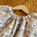 dress - grey cockatoos / cotton peasant-style dress mushroom taupe / 1-9 years