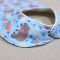 bib - blue wombat / eco friendly / organic cotton hemp fleece / baby toddler