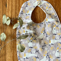 bib - grey cockatoo / eco friendly / organic cotton hemp / baby toddler