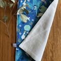 burp cloth - cockatoos galahs teal / organic cotton hemp fleece / baby toddler