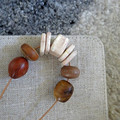 Necklace -Enveloped in Wood. N-306W - Pottery and hand-carved wood.