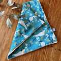 burp cloth - cockatoos turquoise / organic cotton hemp fleece / baby toddler