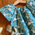 dress - turquoise cockatoos / organic cotton peasant-style dress / 1-9 years