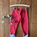 Winter leggings - red / organic cotton hemp fleecy pants / 1-3 years