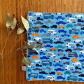 wash cloth - blue cars / organic cotton hemp fleece / baby toddler