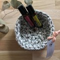 Crochet basket | essential oils | home decor | storage basket | WHITE FLORAL