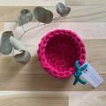 Crochet basket | essential oils | home decor | storage basket | FUCHSIA PINK