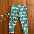 leggings - green elephant / eco friendly organic cotton / 1 - 5 years