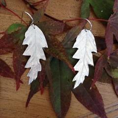 Recycled Silver Oak Leaf Earrings