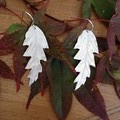 Recycled Silver Oak Leaf Earrings