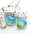 Blue and Green Striped Nuggets Lampwork Glass Sterling Silver Earrings