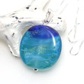 Ocean Blues with Shimmery Sparkles Lampwork Glass Pendant Sterling Silver Chain