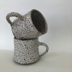 Oblique Coffee Mug with handle - White Speckle Glaze - 7oz