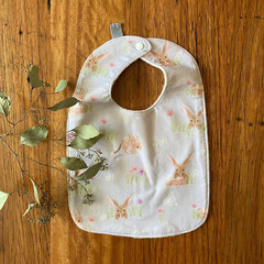 bib - grey bilby / organic cotton hemp fleece / Easter gift / baby toddler