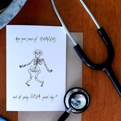 THE FUNNY SKELETON A6 Calligraphy Ink Watercolour Print Appreciation Card