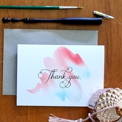THANK YOU A6 Calligraphy Ink Watercolour Print Appreciation Card