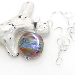 Shimmery Autumn Lampwork Glass Pendant Sterling Silver Chain