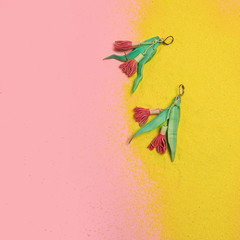 Eucalypt Earrings - Bright Pink