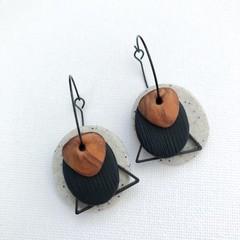 TEXTURE Hoops (Sandstone + Black + Rust) Interchangable Statement Dangles