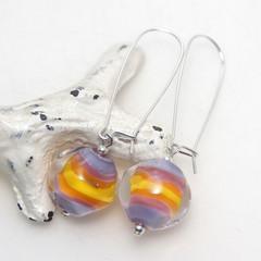 Purple Sunset Striped Lampwork Glass Earrings on Sterling Silver Hooks