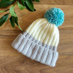 Newborn Grey & Cream Rib Crocheted Baby Beanie with Teal Pompom 0-3 months