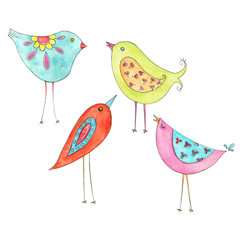 Whimsical Clip Art, Watercolour Birds, Clip Art, Instant digital download