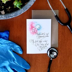 MEDICATED LOVE A6 Calligraphy Ink Watercolour Print Appreciation Card