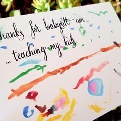 """DIGITAL GARDEN"" -- NOT JUST BABYSITTERS - A6 Calligraphy Watercolour  Card"