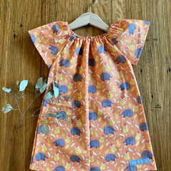 dress - orange echidnas / cotton peasant-style dress / 1-9 years