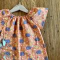 dress - orange echidnas / cotton peasant-style dress / 1-9 years