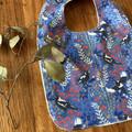 bib - blue magpies / organic cotton hemp fleecy / baby toddler