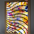 Abstract 022 Gold And Stone Stained Glass Wax Painting Light Box