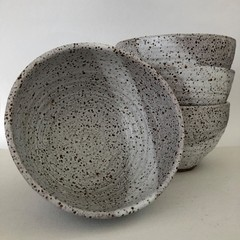 Pottery Breakfast Bowls - White Speckle Glaze