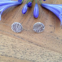 Recycled 99.9% Silver textured round studs