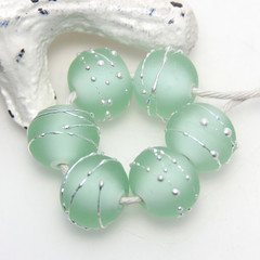 RESERVED Misty Lawn Lampwork Glass Bead Set