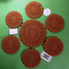 One Doily and Six Matching 'Rust' Coloured Coasters