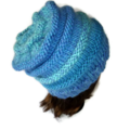 Shades of Greens and Blues Chunky Hand Knitted Pure Australian wool Beanie.